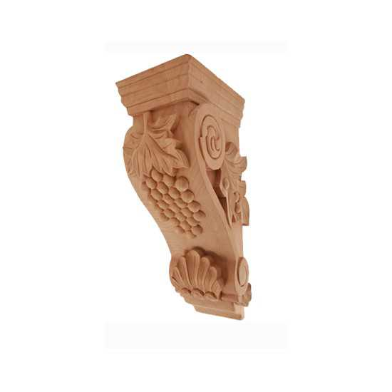 Small Grape Corbel Rubberwood 4-1/2 x 5 x 10