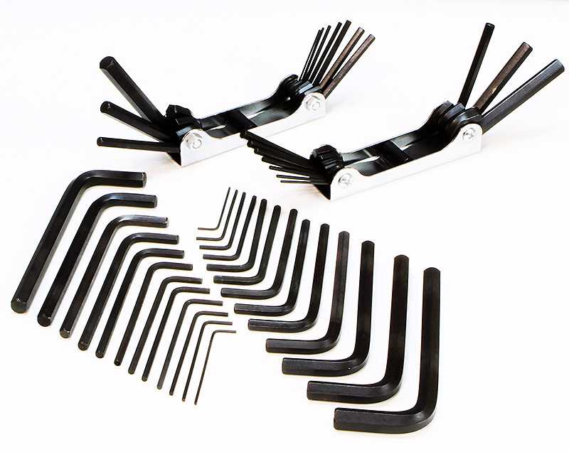 1/16-3/8' Hex Keys Allen Wrench Long Short Folding Arm Combo Tool Set SAE with Case, 45PC