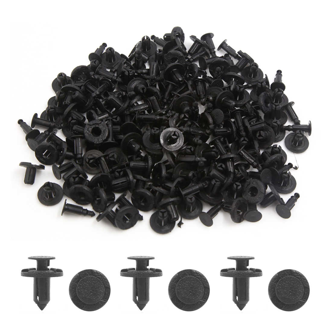 Universal Car Plastic Rivets Push Pin Fastener Fender Retainer Clip Black 100Pcs