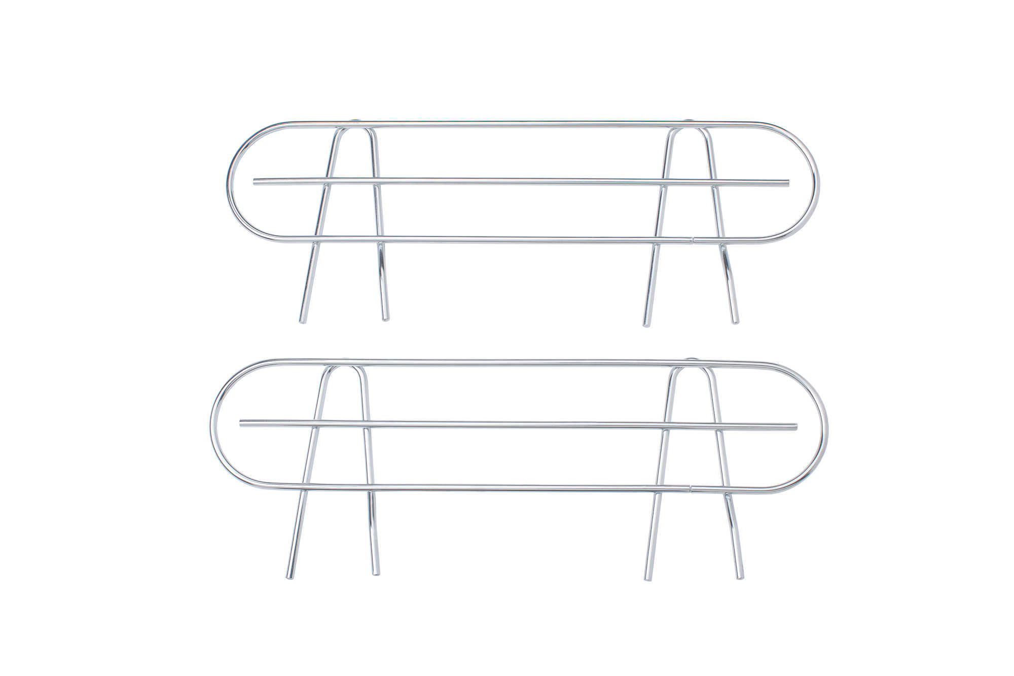 HSS Wire Shelf Side Ledge, Fits on 18' deep shelf, Chrome Color, 2-PACK